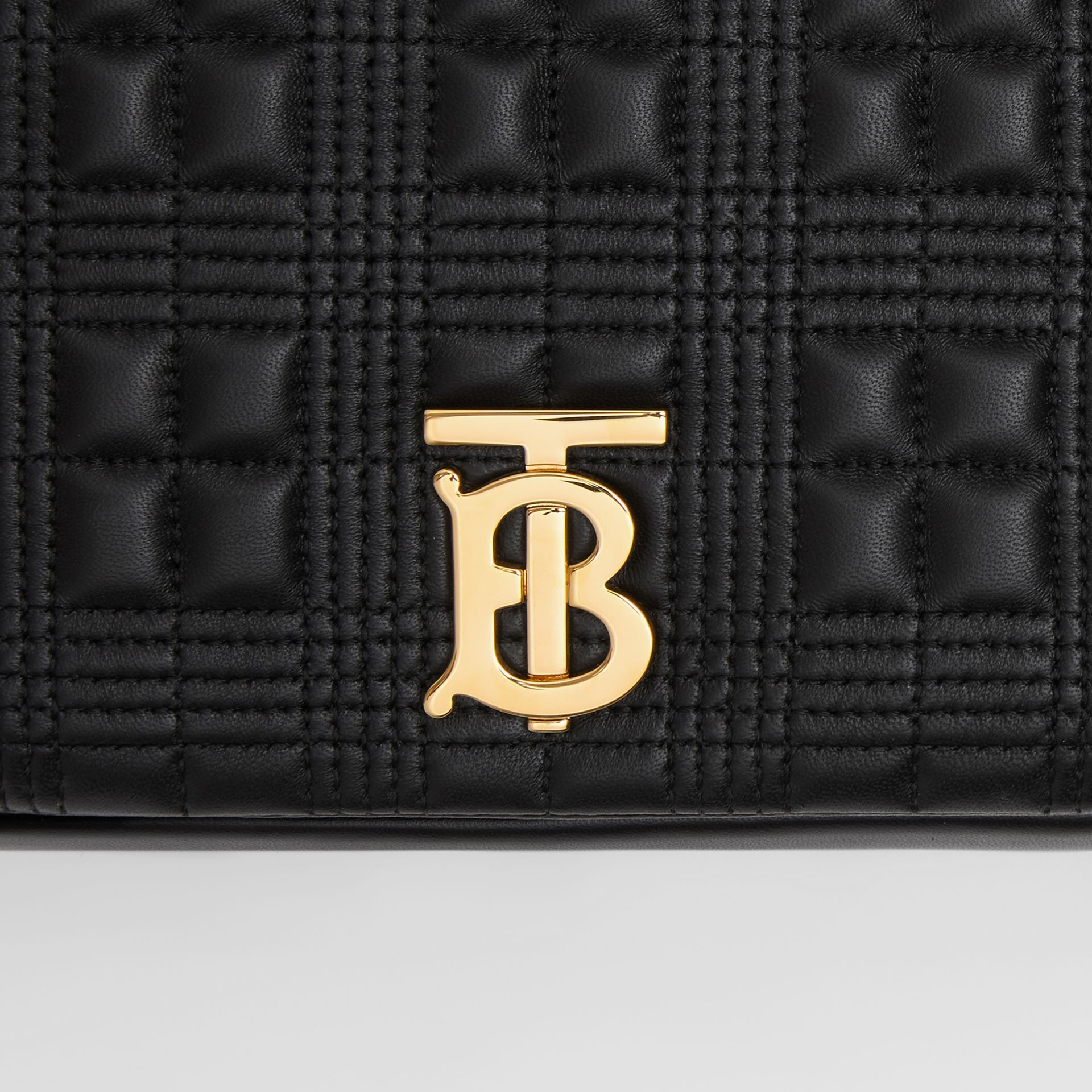 Medium Quilted Check Lambskin Lola Bag in Black - Women | Burberry United Kingdom - gallery image 1