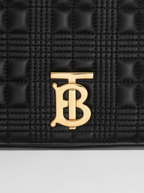 Medium Quilted Check Lambskin Lola Bag in Black - Women | Burberry - cell image 1
