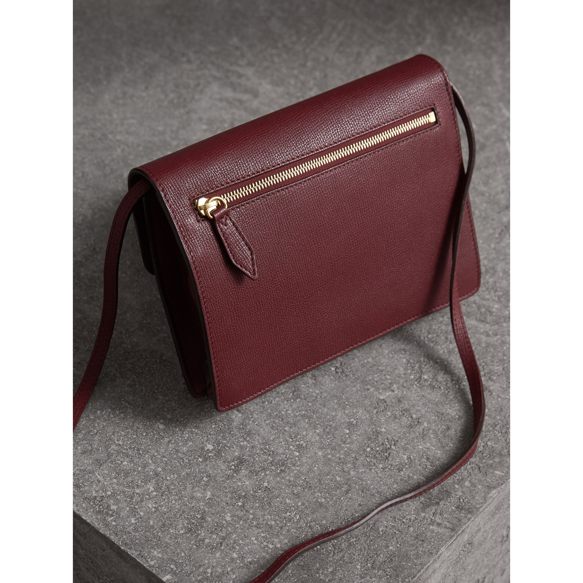Small Leather and House Check Crossbody Bag in Mahogany Red - Women | Burberry Australia - gallery image 4
