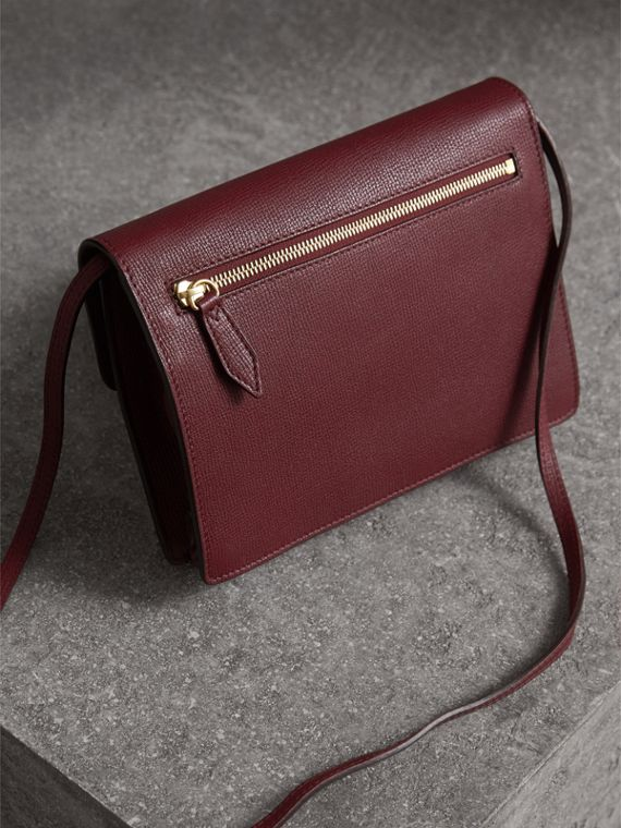 Small Leather and House Check Crossbody Bag in Mahogany Red - Women | Burberry - cell image 3