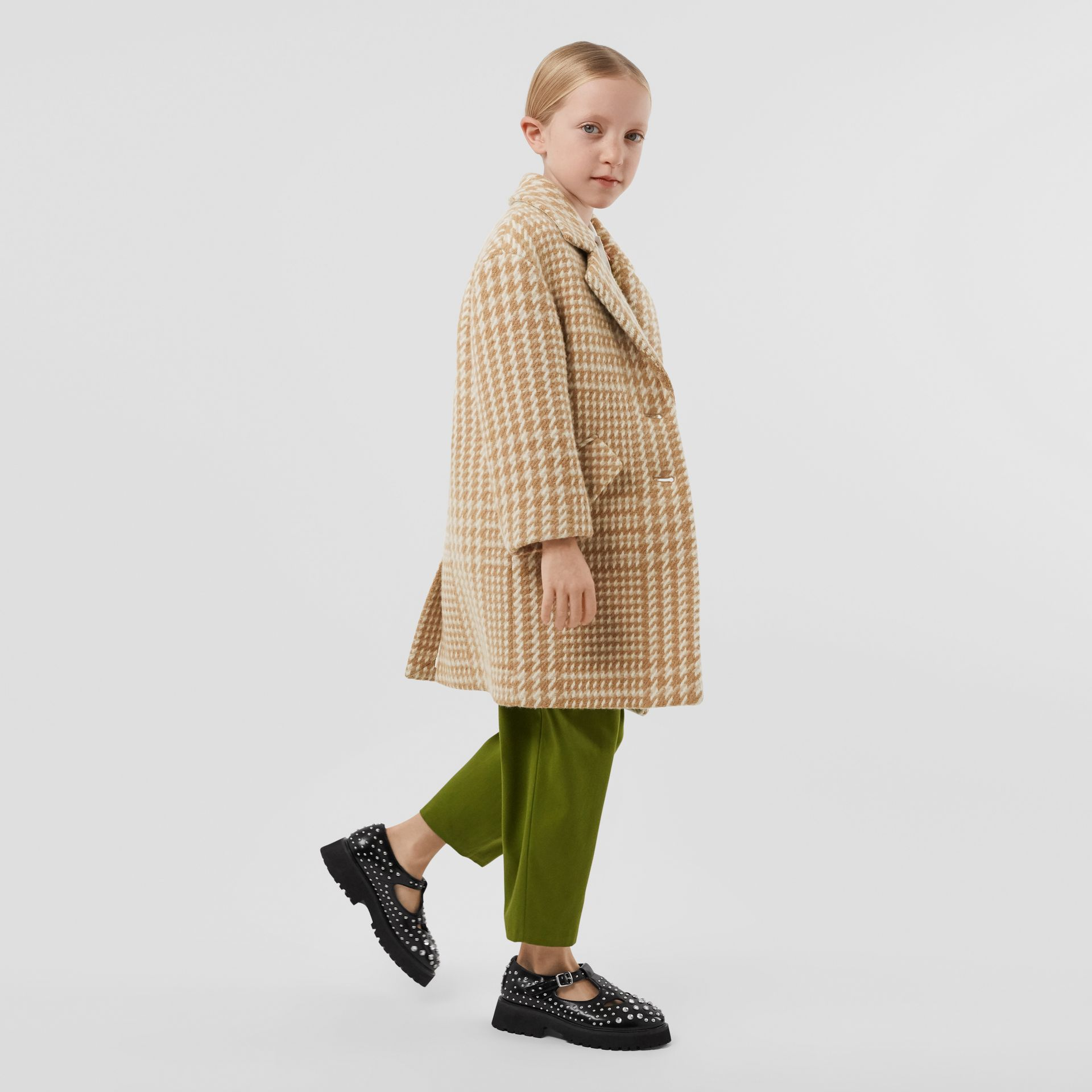 Houndstooth Check Technical Wool Coat in Camel   Burberry United Kingdom - gallery image 2