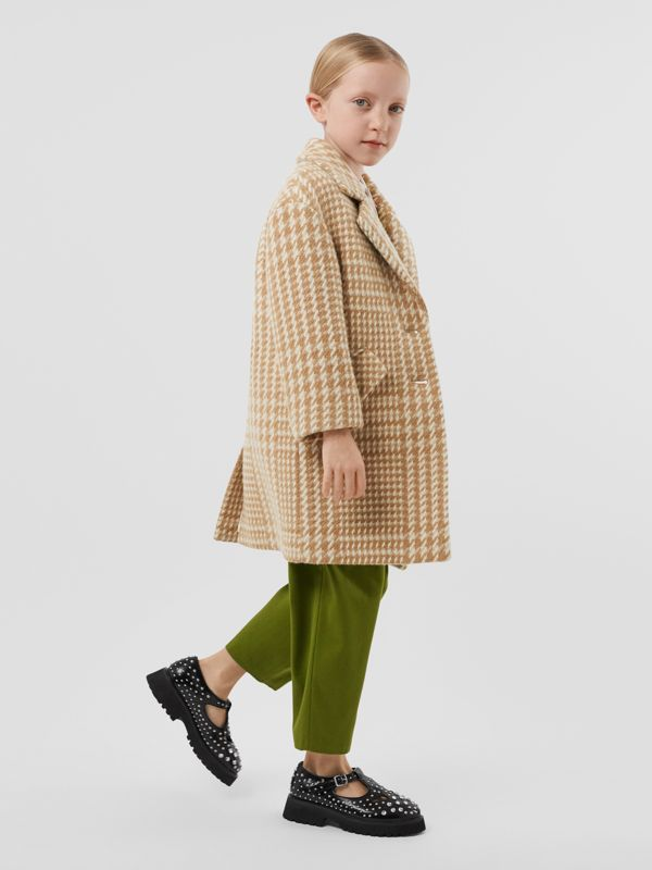 Houndstooth Check Technical Wool Coat in Camel   Burberry United Kingdom - cell image 2