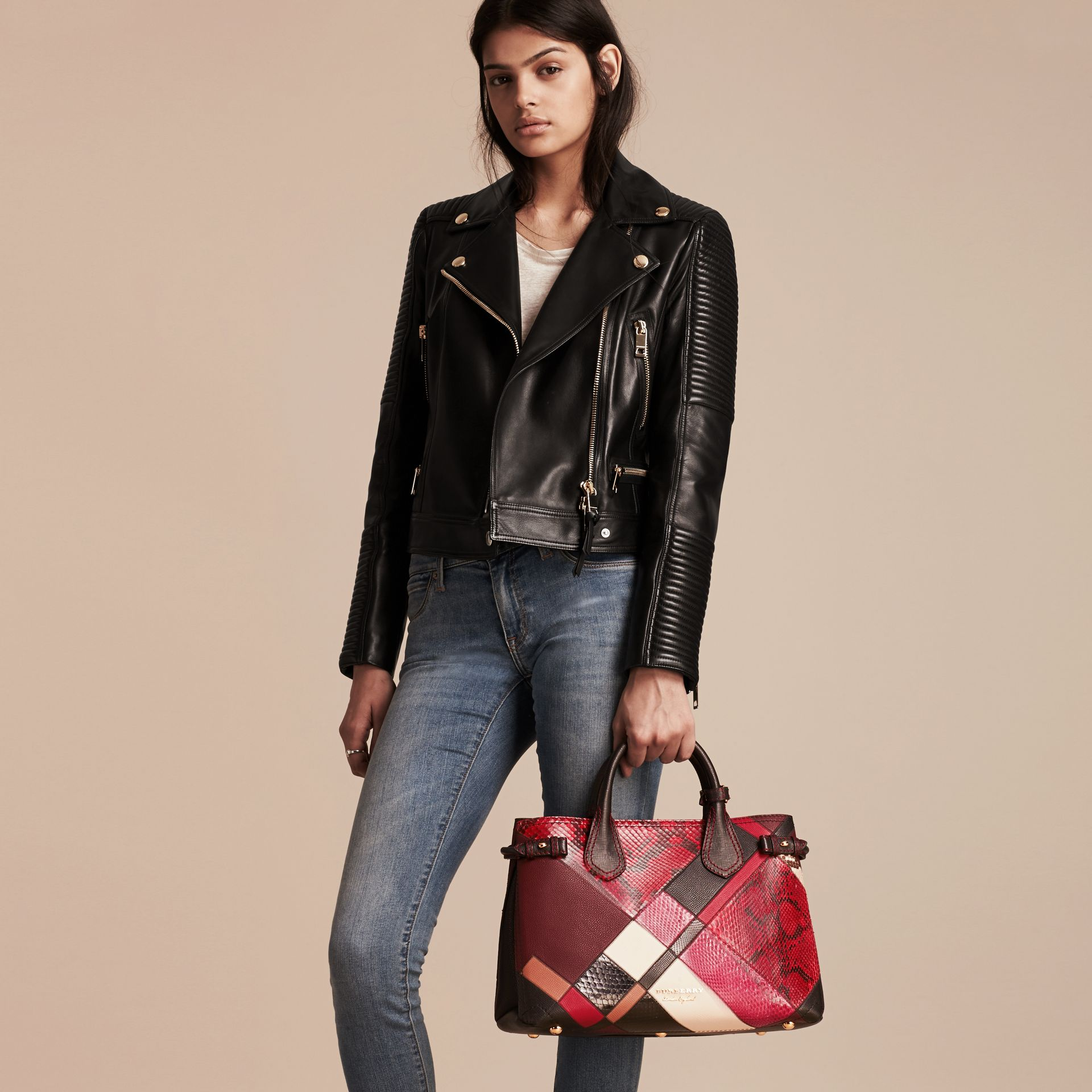 The Medium Banner in Patchwork Python and Leather in Pink - Women | Burberry United States - gallery image 3