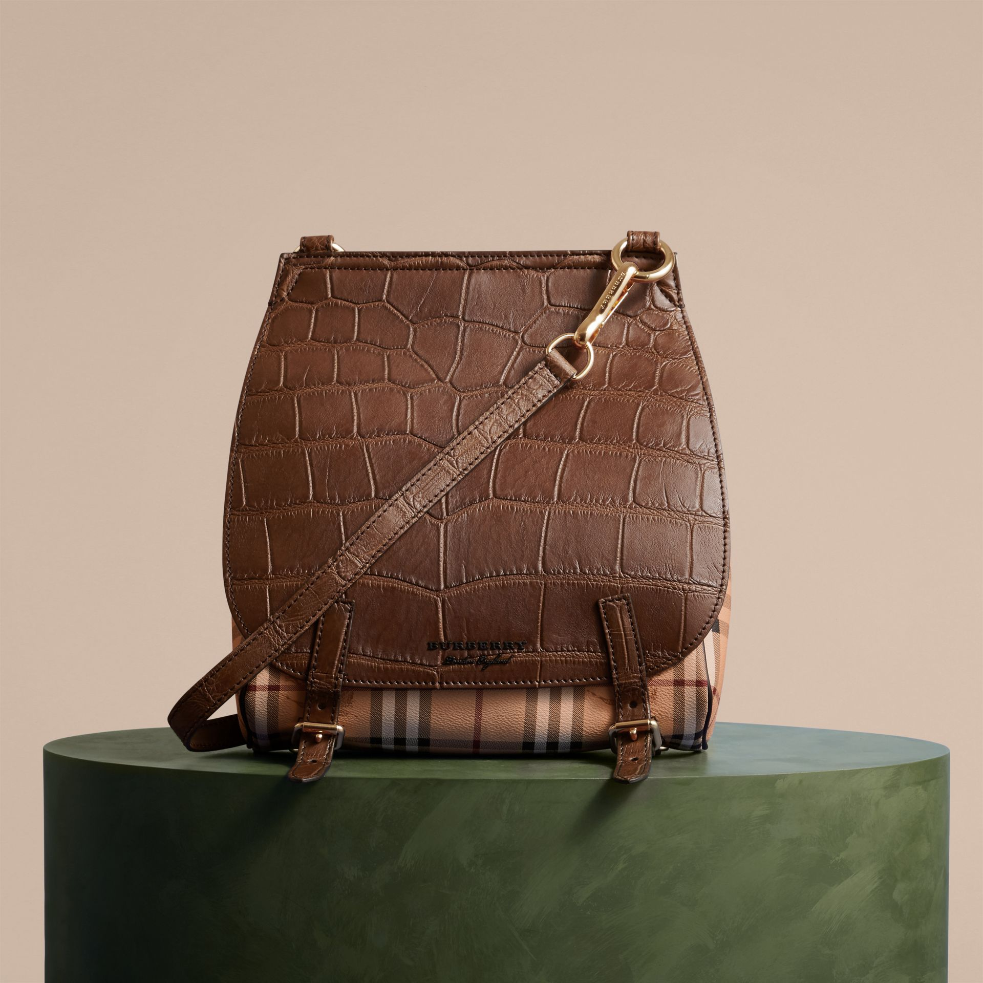 Russet brown The Small Bridle Bag in Alligator and Haymarket Check - gallery image 8