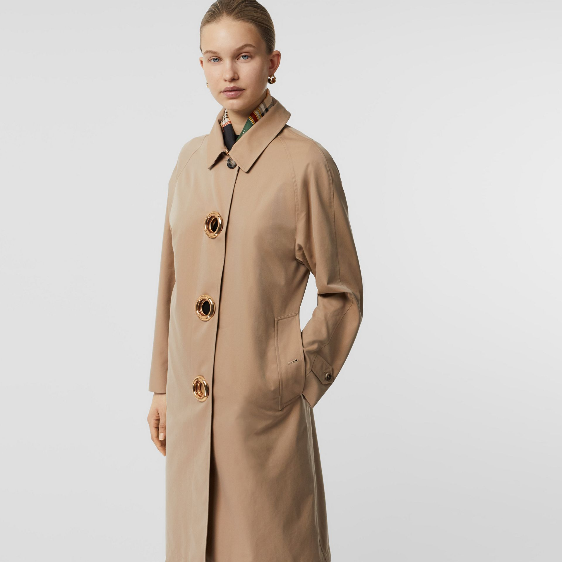 Grommet Detail Cotton Gabardine Car Coat in Honey - Women | Burberry - gallery image 6