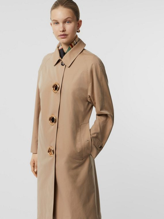 Grommet Detail Cotton Gabardine Car Coat in Honey