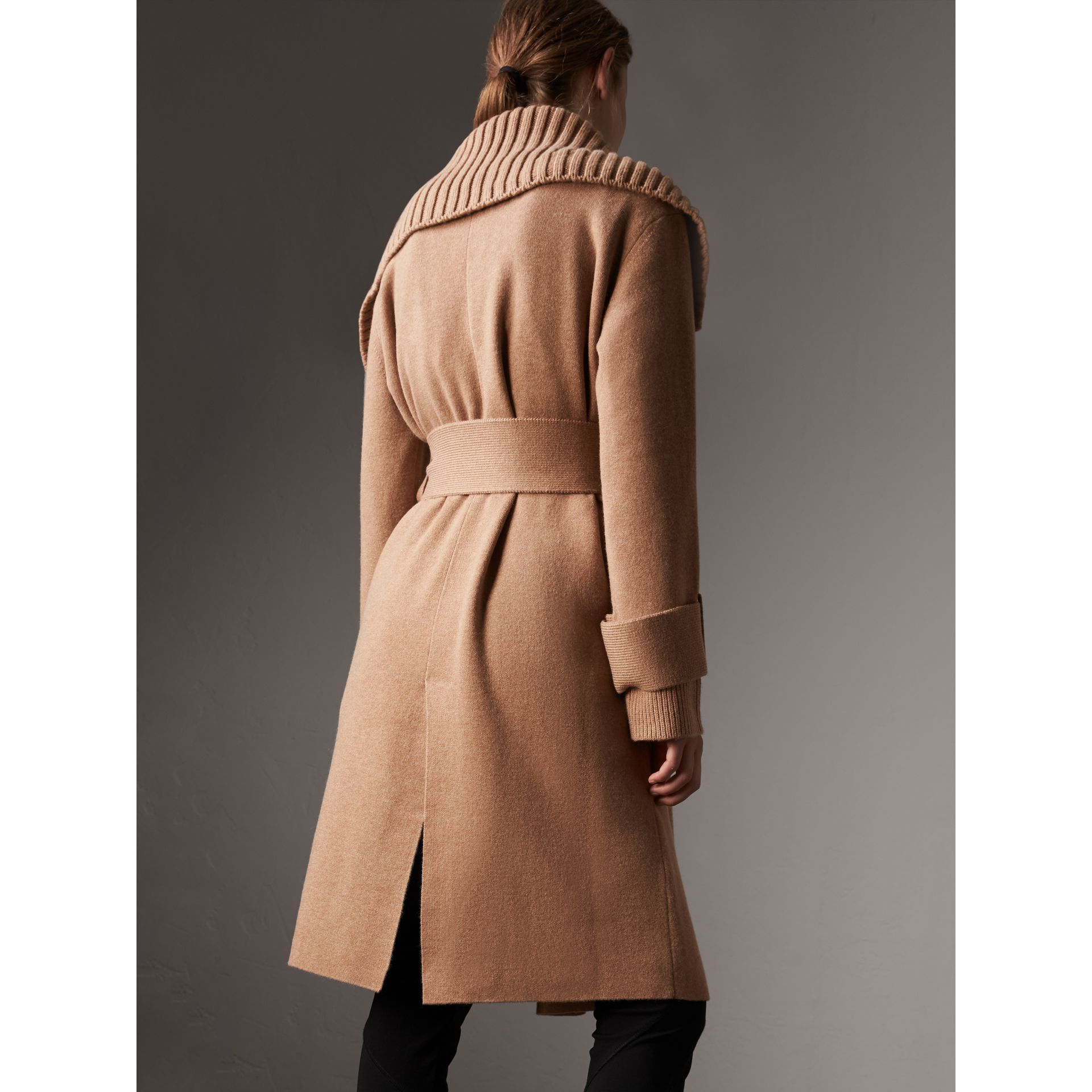 Knitted Wool Cashmere Wrap Coat in Camel - Women | Burberry United States - gallery image 2