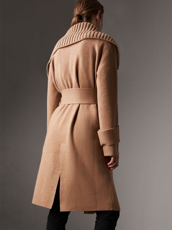 Knitted Wool Cashmere Wrap Coat in Camel - Women | Burberry Australia - cell image 2