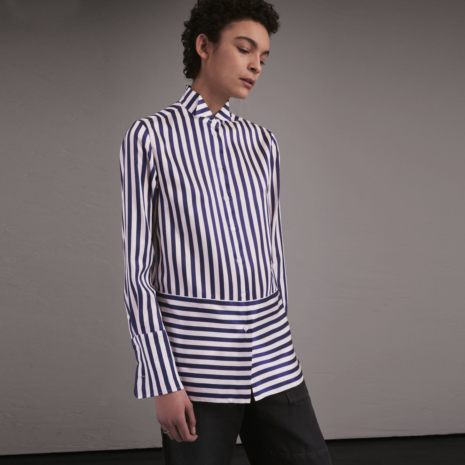 Wing Collar Striped Silk Cotton Shirt - Women | Burberry - gallery image 1