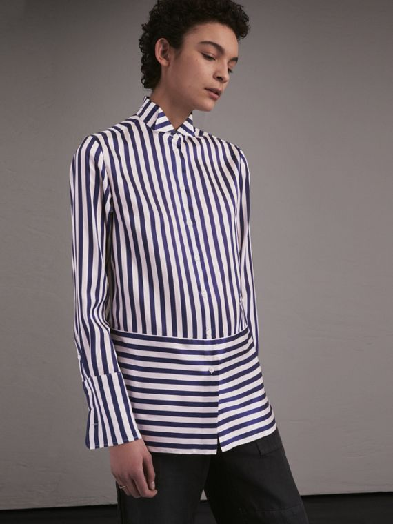 Wing Collar Striped Silk Cotton Shirt