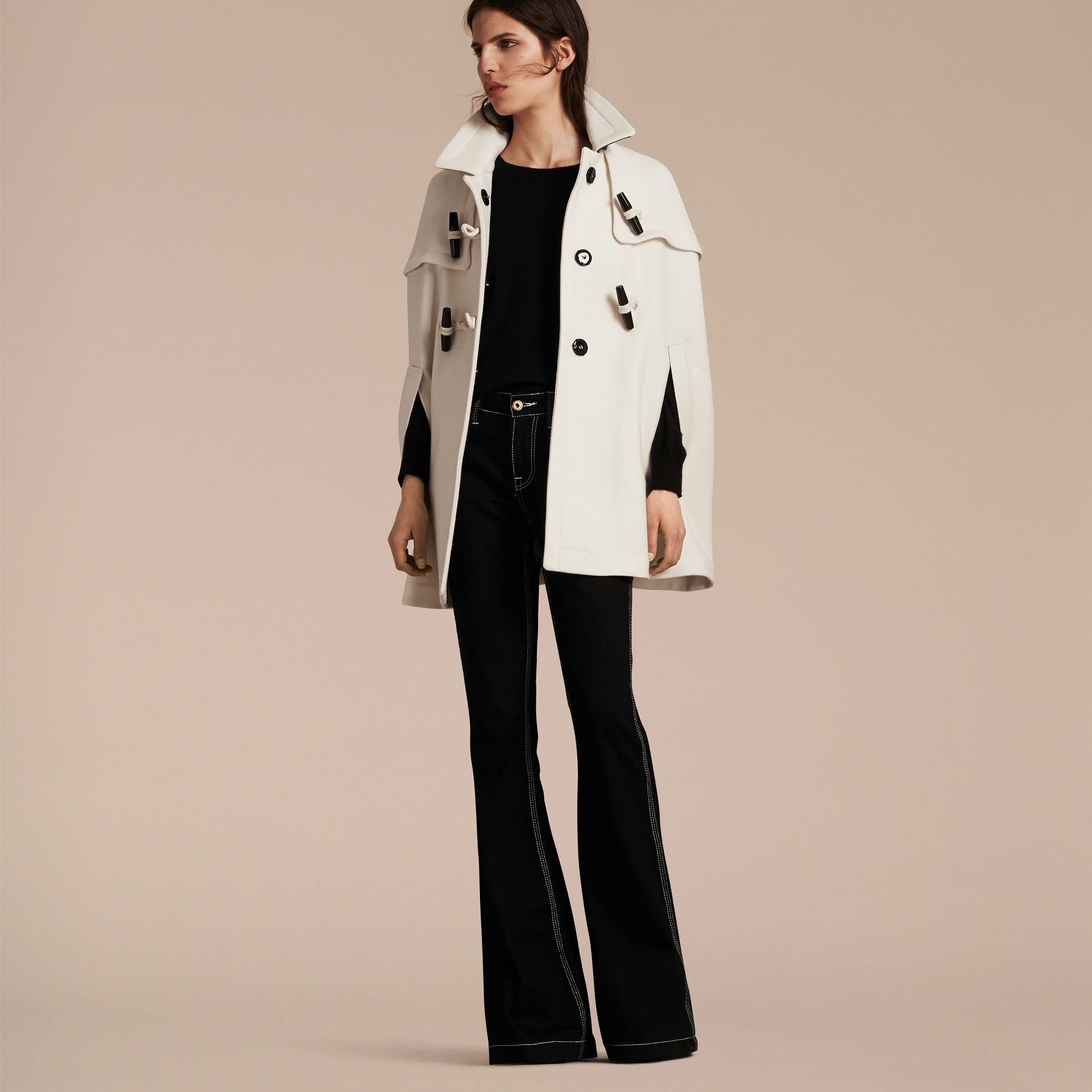 Natural white Wool Cashmere Duffle Cape Coat Natural White - gallery image 7