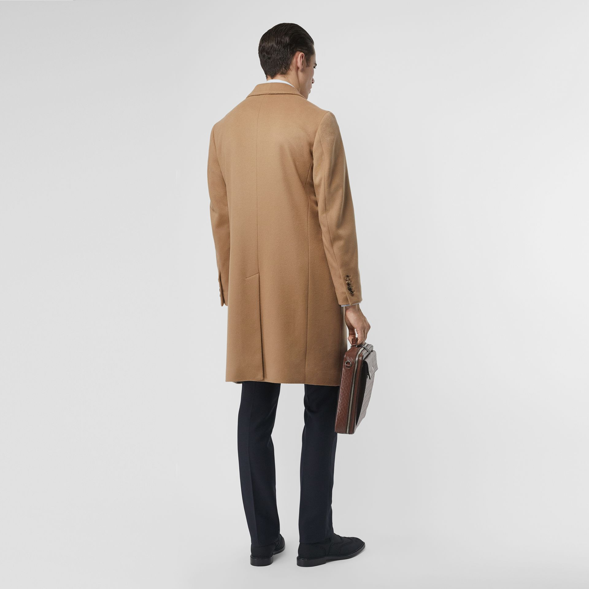 Wool Cashmere Tailored Coat in Camel - Men | Burberry United Kingdom - gallery image 2