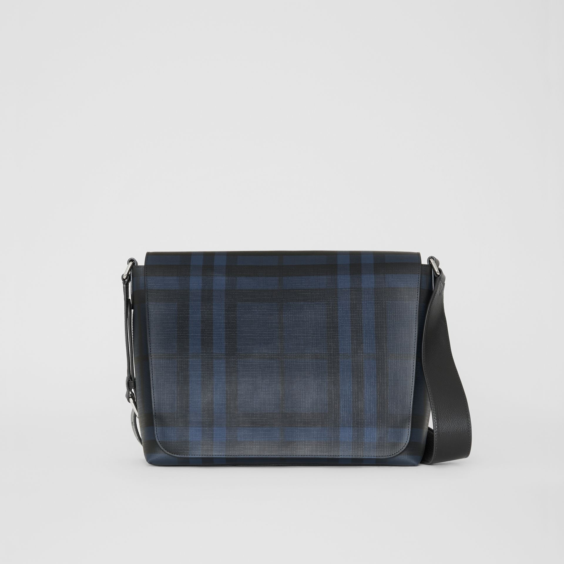 Borsa messenger grande con motivo London check (Navy/nero) | Burberry - immagine della galleria 0