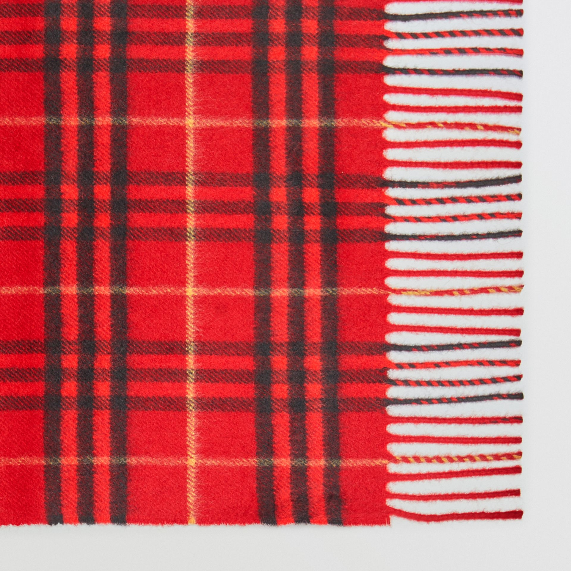 The Classic Vintage Check Cashmere Scarf in Military Red | Burberry - gallery image 1