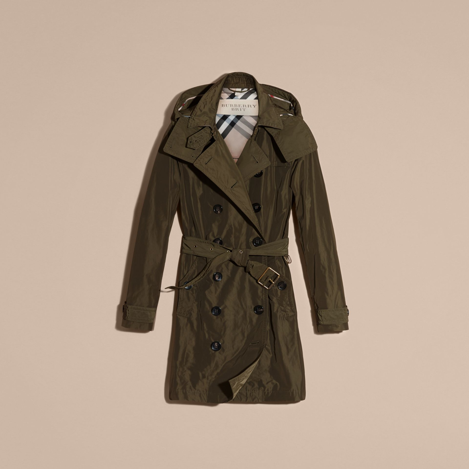 Taffeta Trench Coat with Detachable Hood in Dark Olive - Women | Burberry - gallery image 3