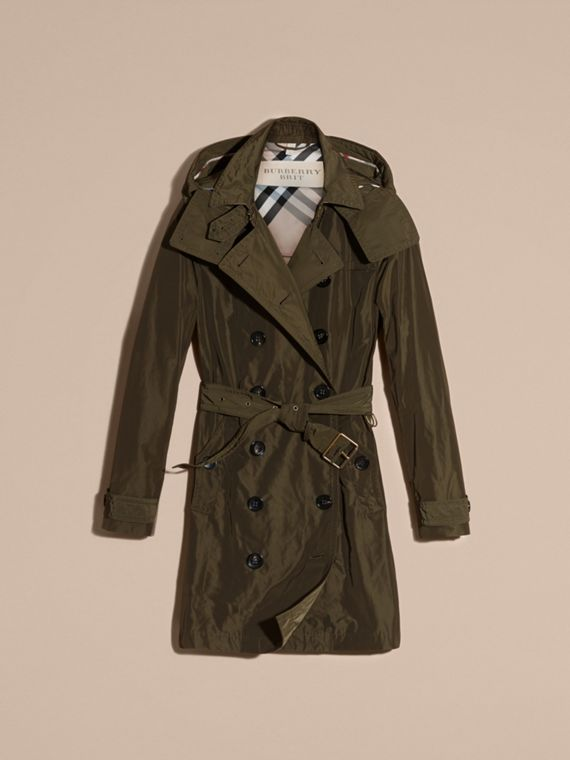 Taffeta Trench Coat with Detachable Hood in Dark Olive - Women | Burberry - cell image 3