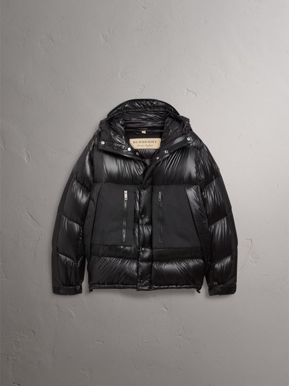 Oversized Down-filled Hooded Puffer Jacket in Black - Men | Burberry - cell image 3