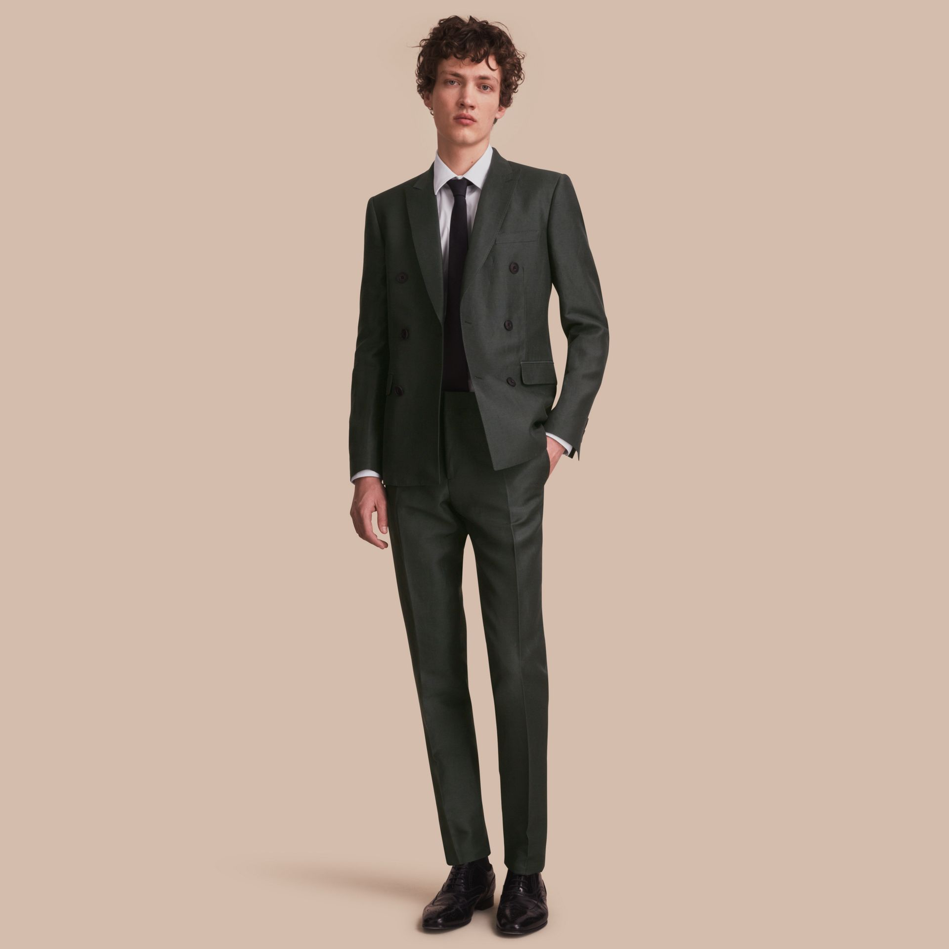 Slim Fit Travel Tailoring Linen Blend Suit in Slate Green - Men | Burberry - gallery image 1