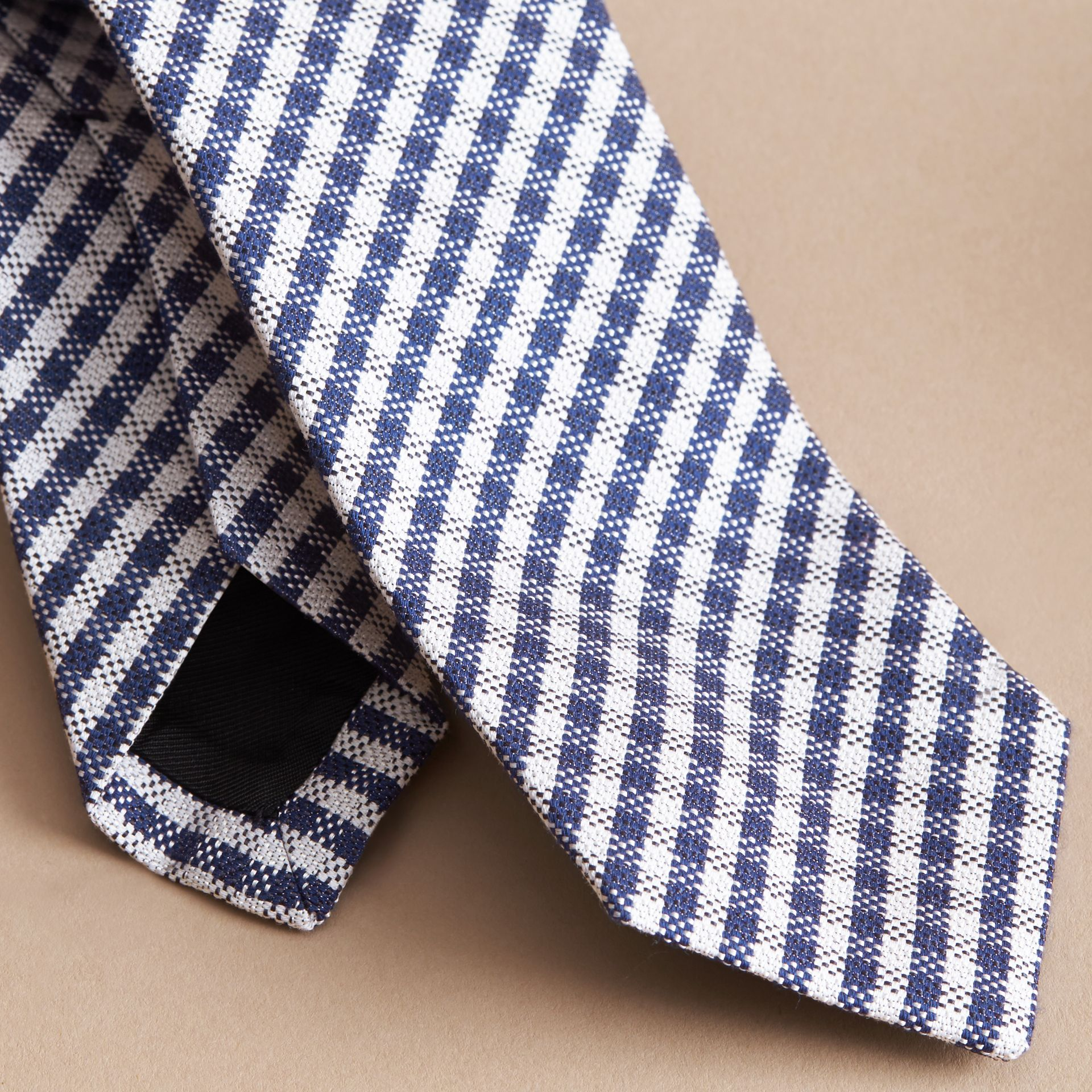 Slim Cut Cotton Silk Gingham Tie in Brilliant Blue - gallery image 2