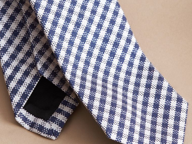 Slim Cut Cotton Silk Gingham Tie Brilliant Blue - cell image 1