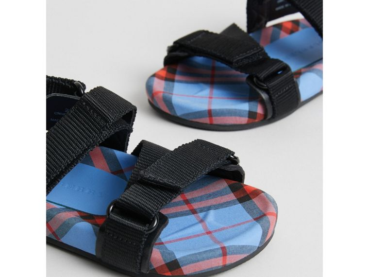 Ripstop Strap Check Cotton Sandals in Cornflower Blue | Burberry - cell image 1