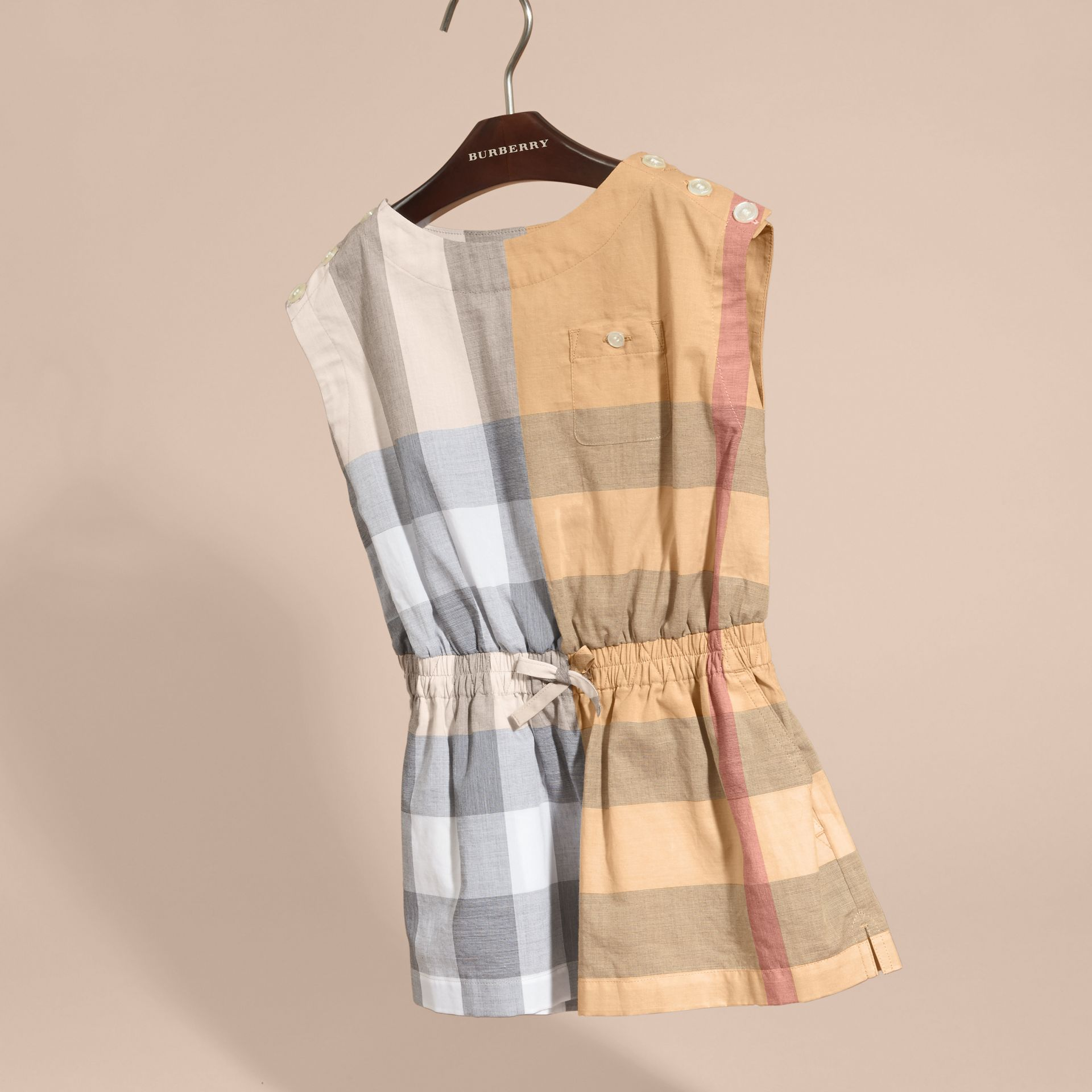 Check Cotton Playsuit in Pale Stone - Girl | Burberry - gallery image 3