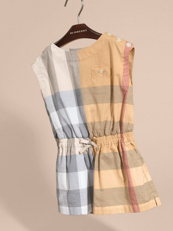 Check Cotton Playsuit in Pale Stone - Girl | Burberry - cell image 2