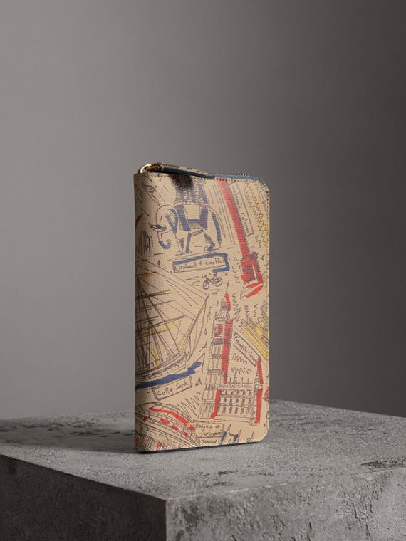 London Print Leather Ziparound Wallet in Multicolour