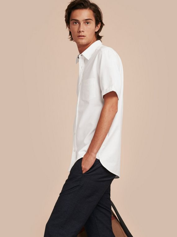 Check Detail Short-Sleeved Cotton Oxford Shirt in White - Men | Burberry Singapore
