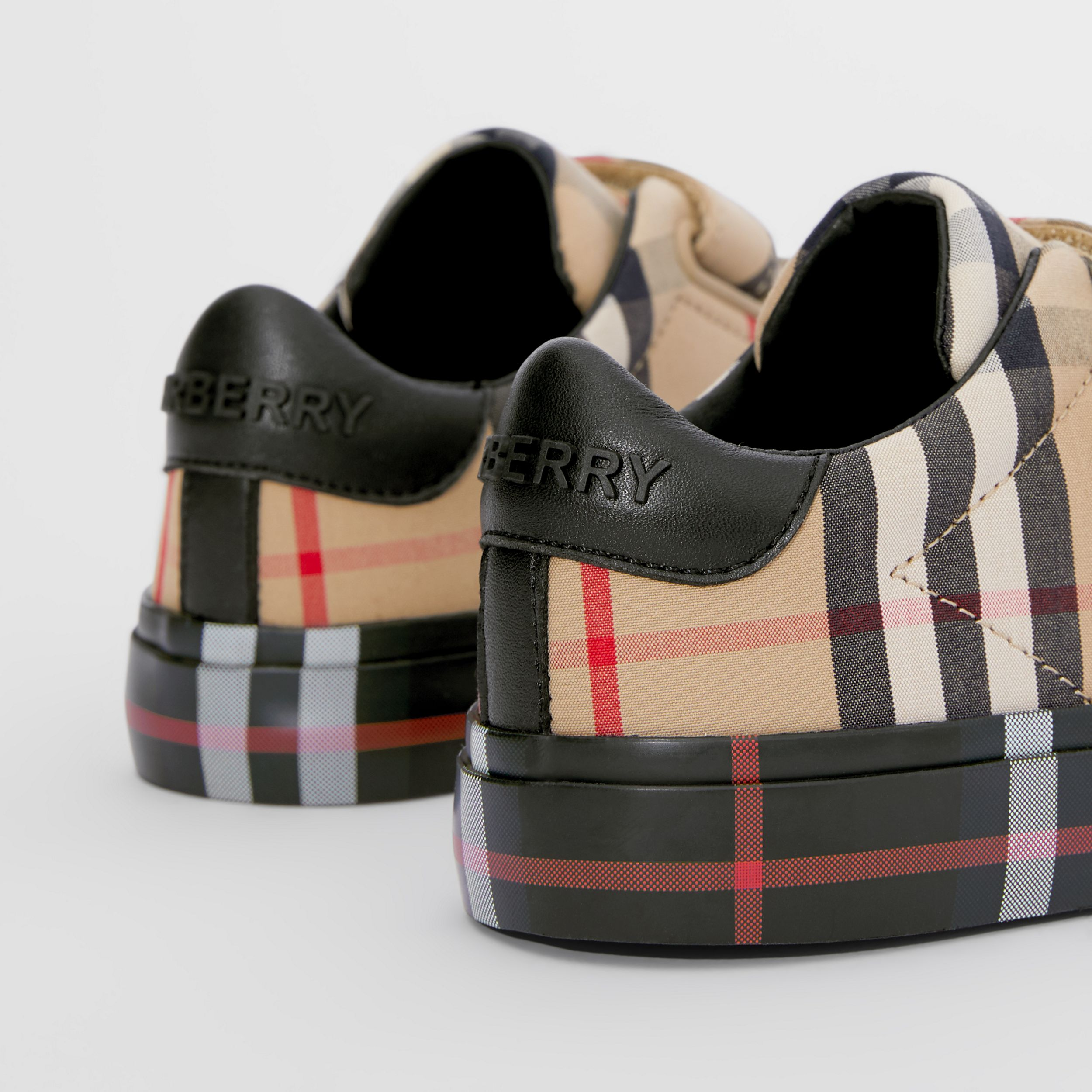 Contrast Check Cotton Sneakers in Archive Beige/black - Children | Burberry - 2