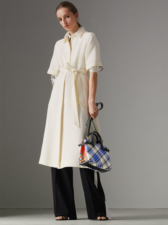 The Banner piccola in cotone tartan e pelle (Bianco Gesso) - Donna | Burberry - cell image 2