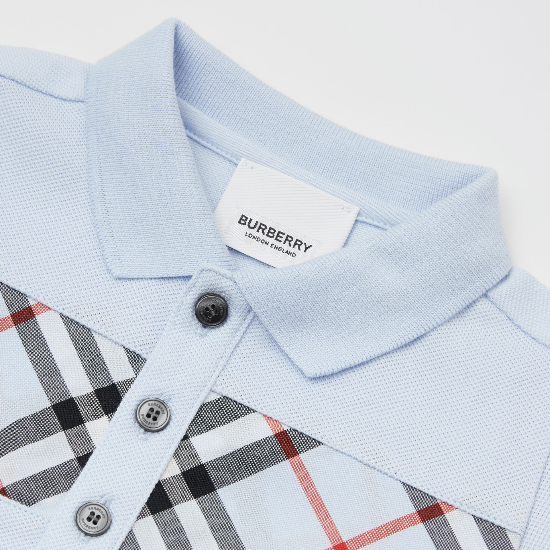 Vintage Check Panel Cotton Polo Shirt in Light Blue - Children | Burberry United Kingdom - gallery image 1