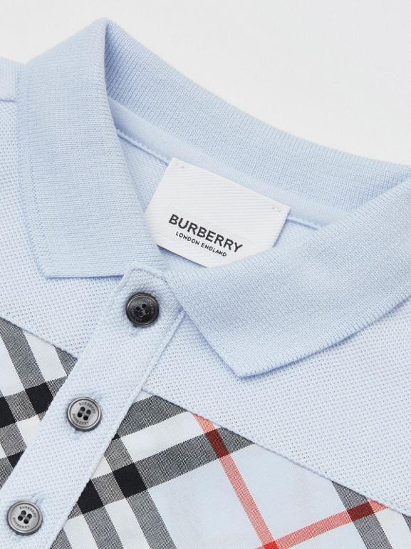 Vintage Check Panel Cotton Polo Shirt in Light Blue - Children | Burberry United Kingdom - cell image 1