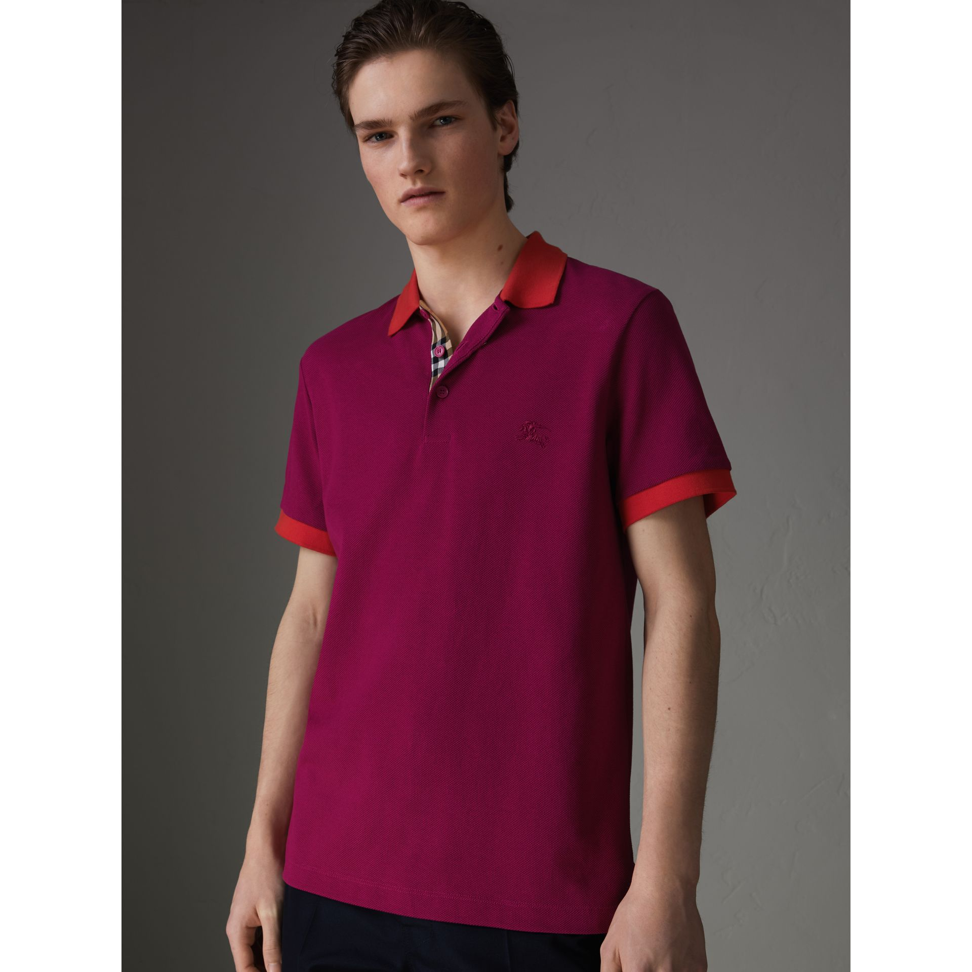 Contrast Collar Cotton Polo Shirt in Plum Pink - Men | Burberry Canada - gallery image 4
