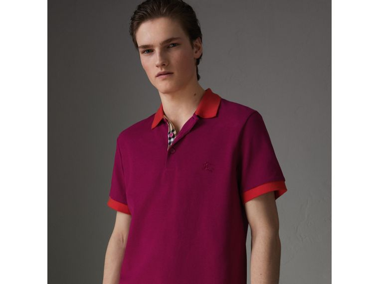 Contrast Collar Cotton Polo Shirt in Plum Pink - Men | Burberry - cell image 4