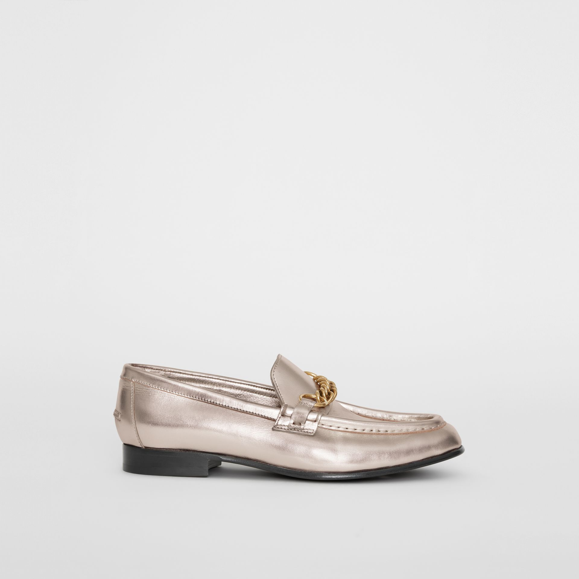 The Metallic Leather Link Loafer in Light Gold - Women | Burberry - gallery image 4