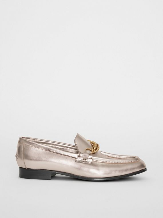 The Metallic Leather Link Loafer in Light Gold