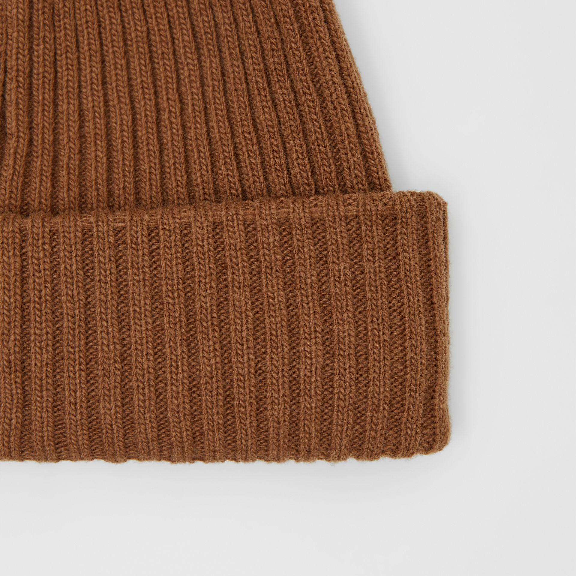 Rib Knit Wool Beanie in Maple | Burberry United Kingdom - gallery image 1