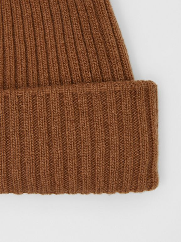 Rib Knit Wool Beanie in Maple | Burberry United Kingdom - cell image 1