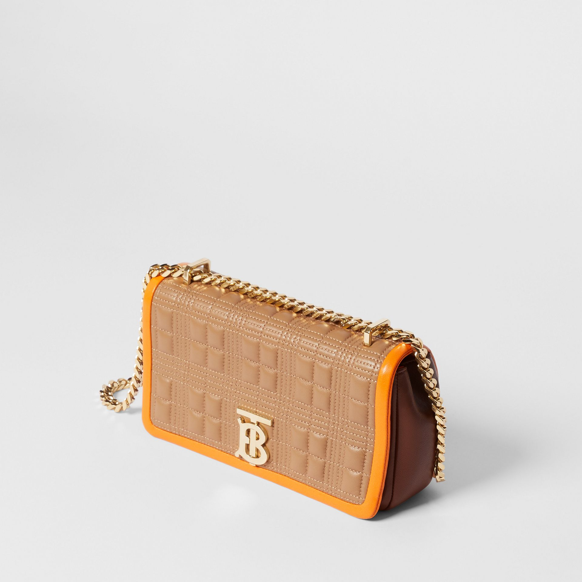 Small Quilted Tri-tone Lambskin Lola Bag in Camel/bright Orange - Women | Burberry - gallery image 3