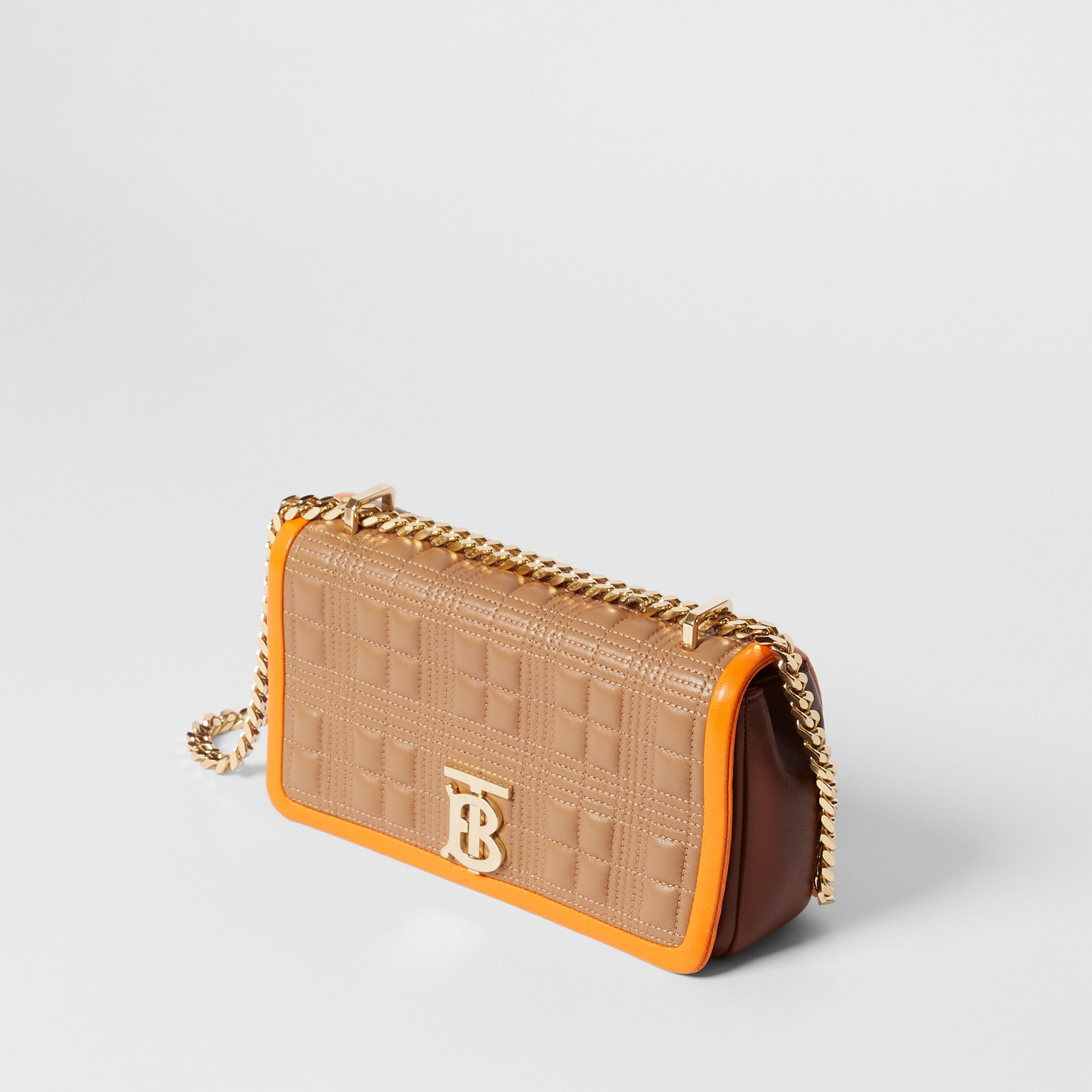 Small Quilted Tri-tone Lambskin Lola Bag in Camel/bright Orange - Women | Burberry - 4