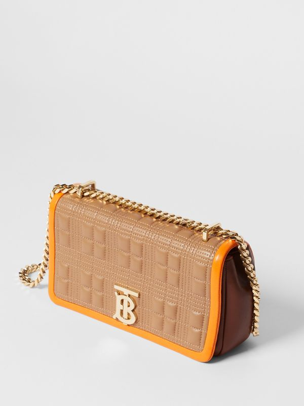 Small Quilted Tri-tone Lambskin Lola Bag in Camel/bright Orange - Women | Burberry - cell image 3