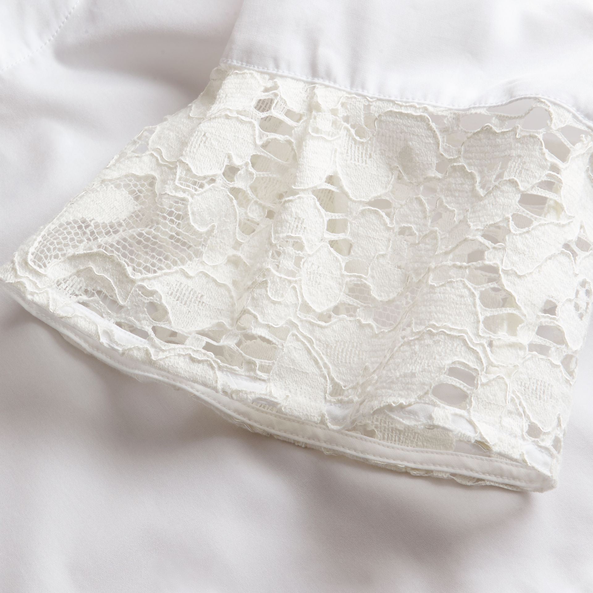 White Lace Detail Cotton T-shirt - gallery image 2