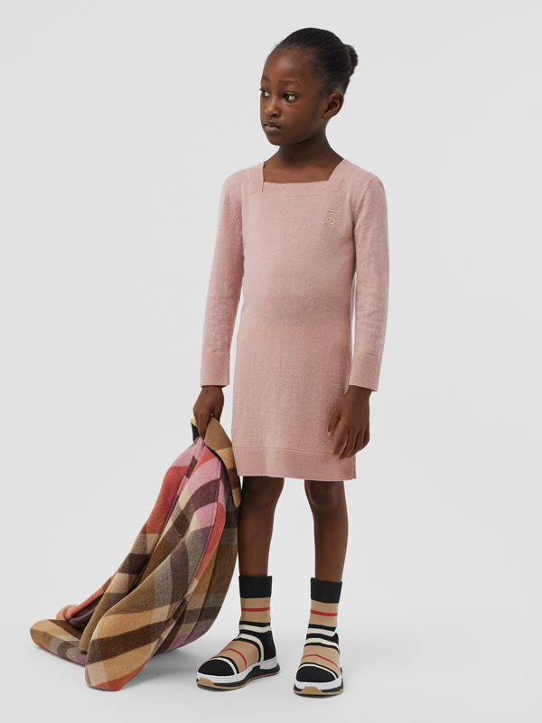 Monogram Motif Cashmere Sweater Dress in Lavender Pink | Burberry United States - cell image 2
