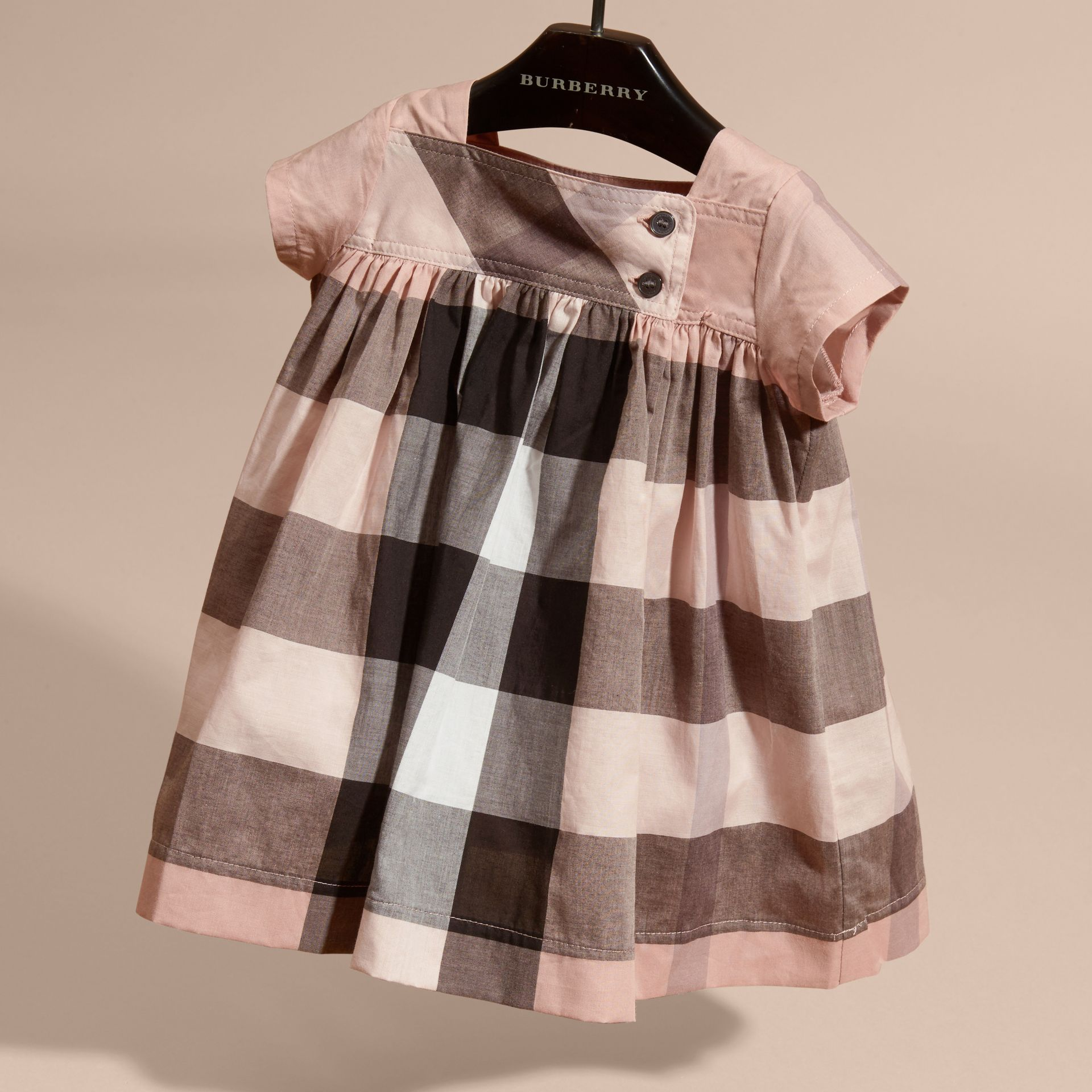 Antique pink Check Cotton Dress - gallery image 3