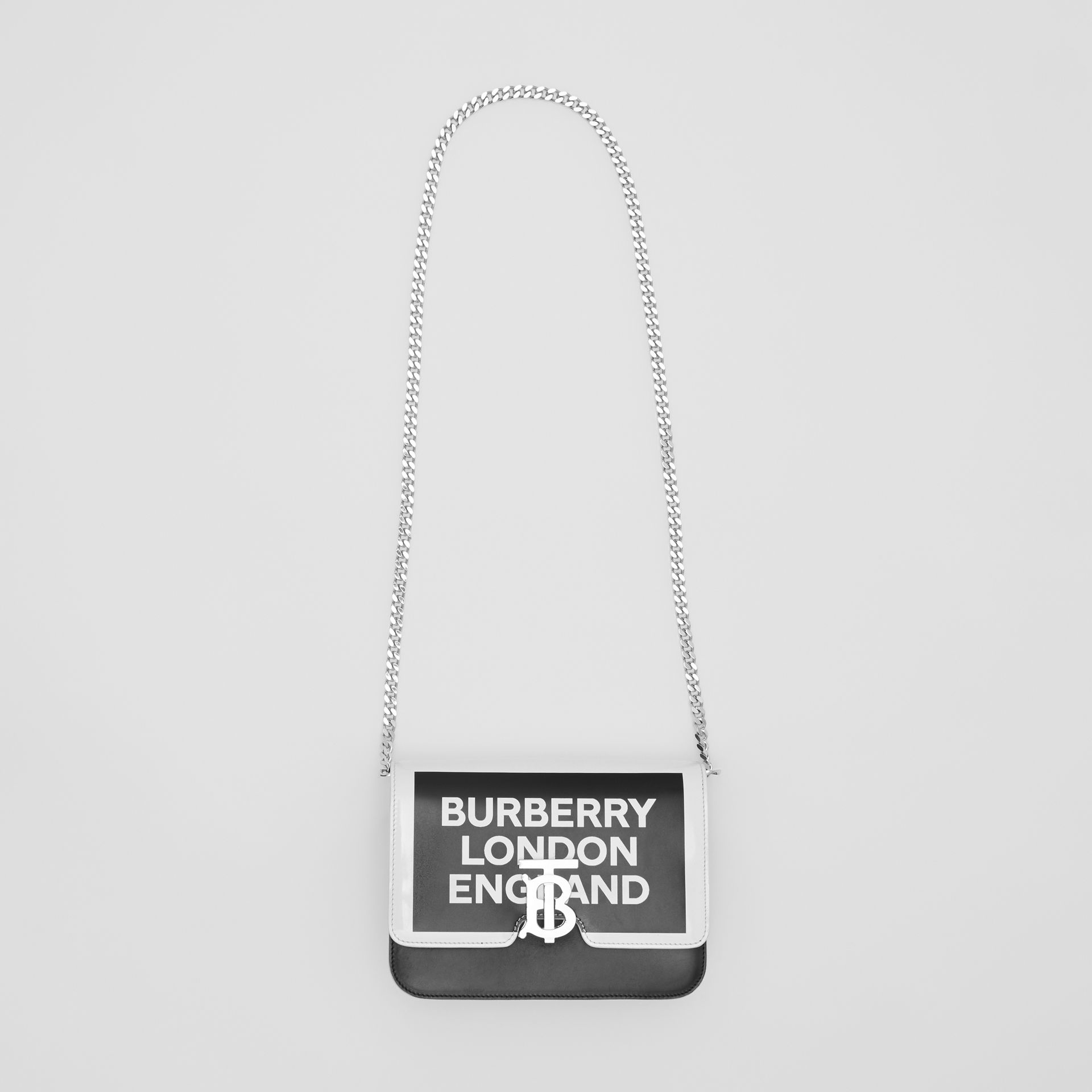 Small Logo Print Leather TB Bag in Black/white - Women | Burberry United Kingdom - gallery image 3