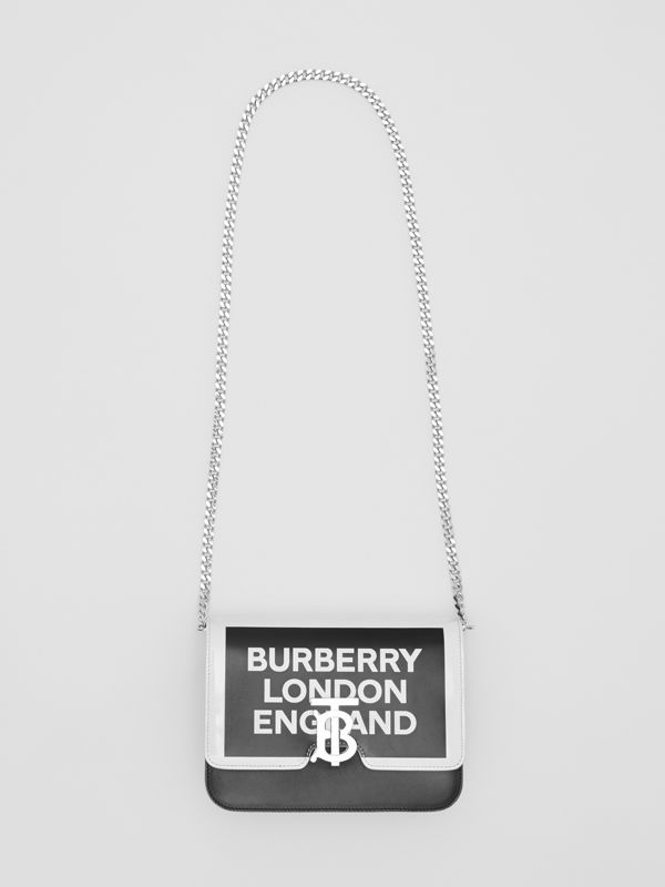 Small Logo Print Leather TB Bag in Black/white - Women | Burberry Australia - cell image 3