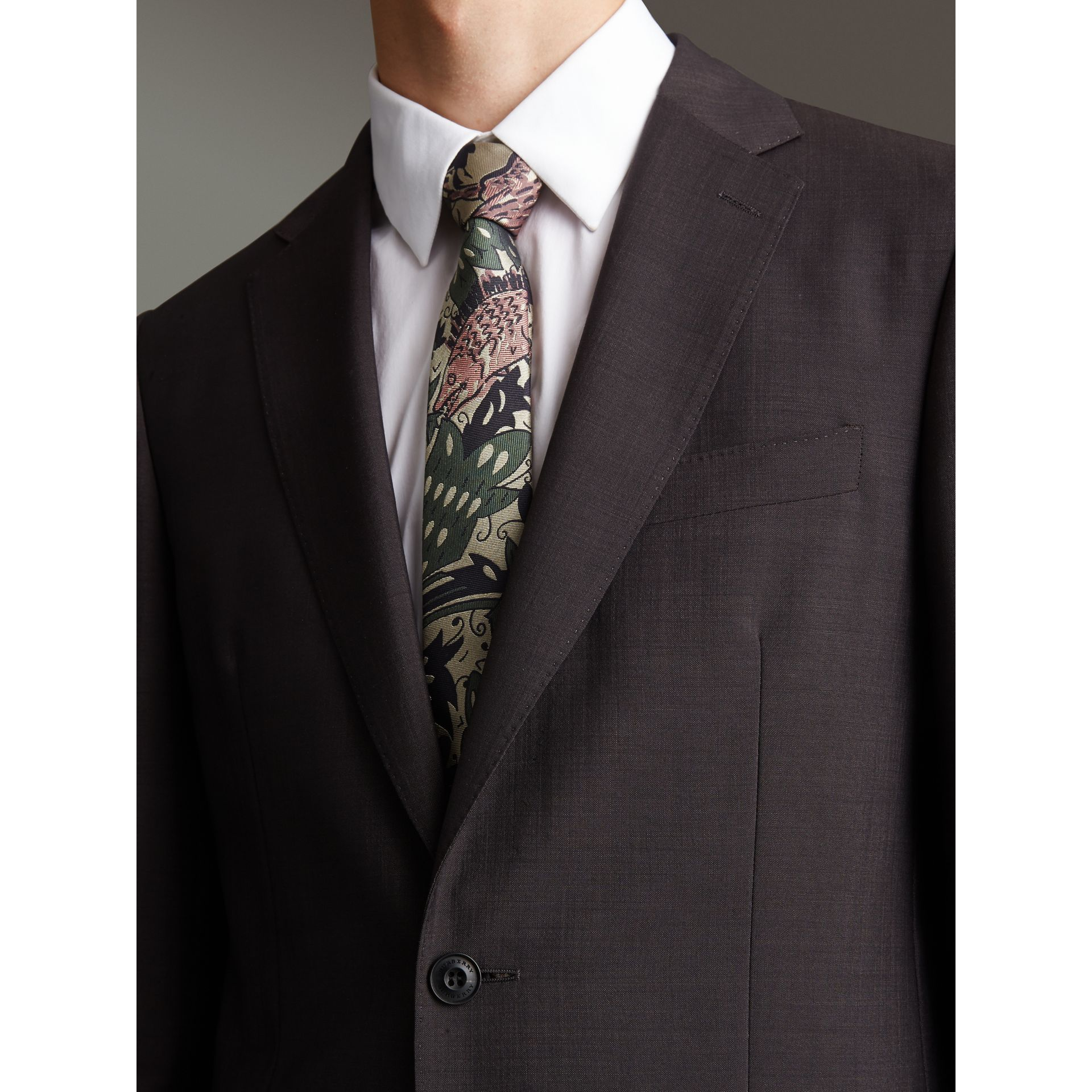 Slim Cut Beasts Silk Jacquard Tie in Chalk Green - Men | Burberry - gallery image 3