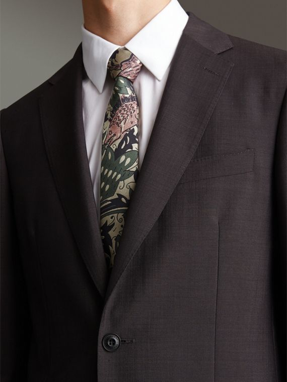 Slim Cut Beasts Silk Jacquard Tie in Chalk Green - Men | Burberry - cell image 2