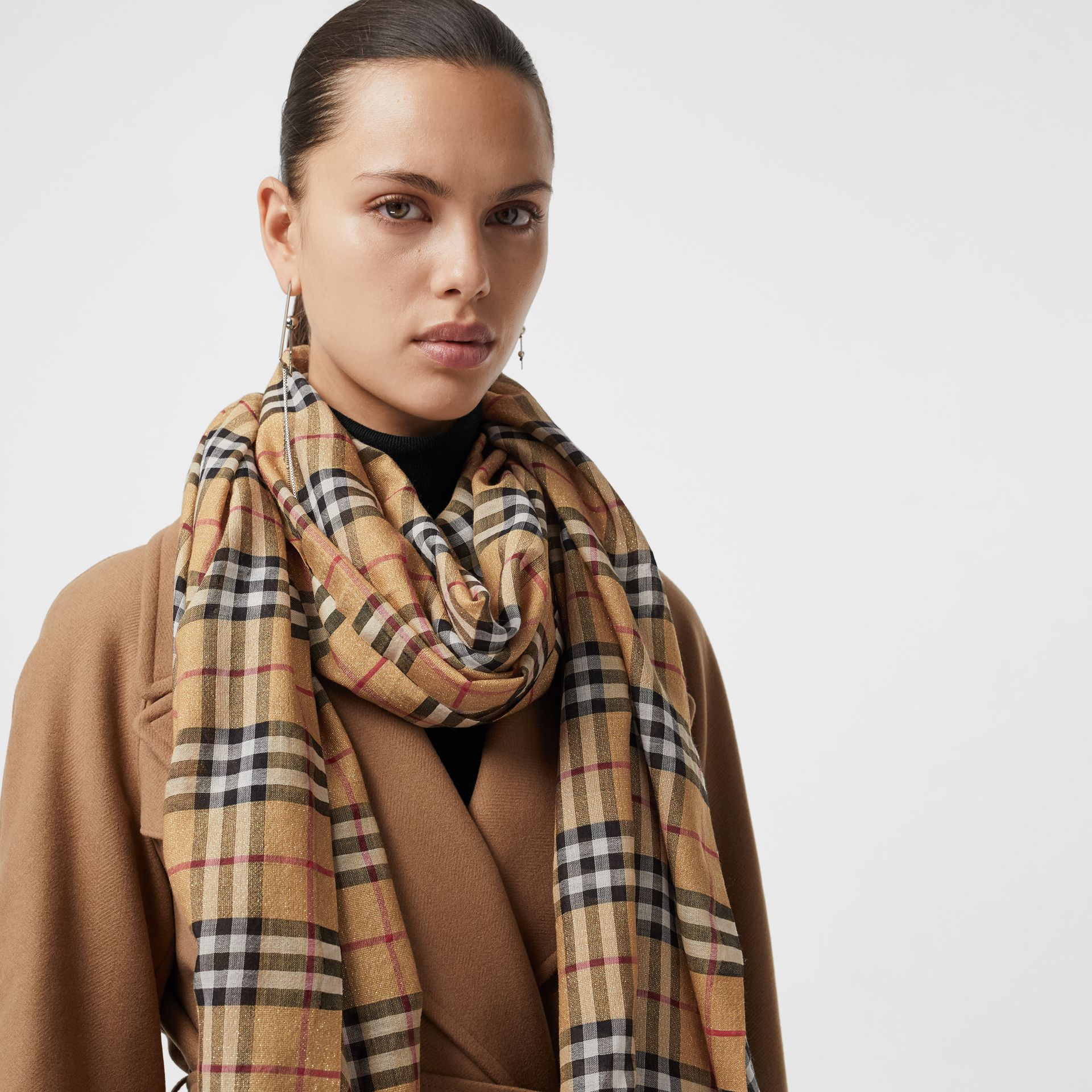 Metallic Vintage Check Wool Silk Blend Scarf in Antique Yellow | Burberry Australia - gallery image 4